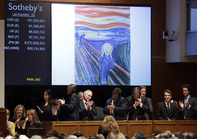 "Edvard Munch's ""The Scream"" was auctioned at Sotheby's in 2012. It was sold by Norwegian businessman Petter Olsen, whose father was a friend and patron of the artist for $119,9 million"