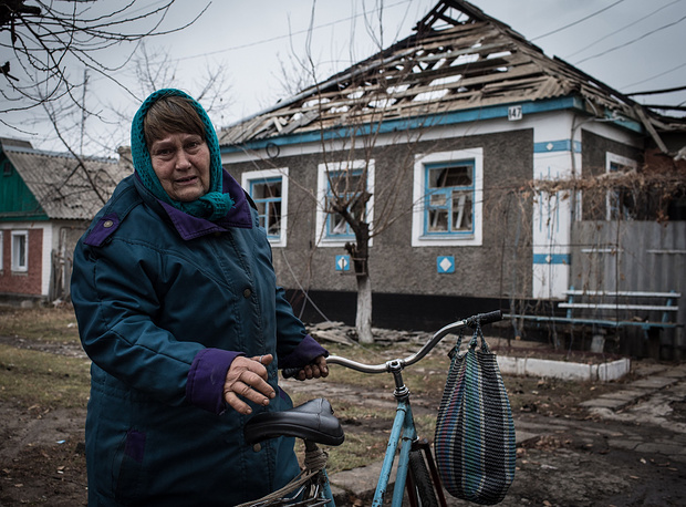Photo: A destroyed house in the town of Slavyanoserbsk, Luhansk region
