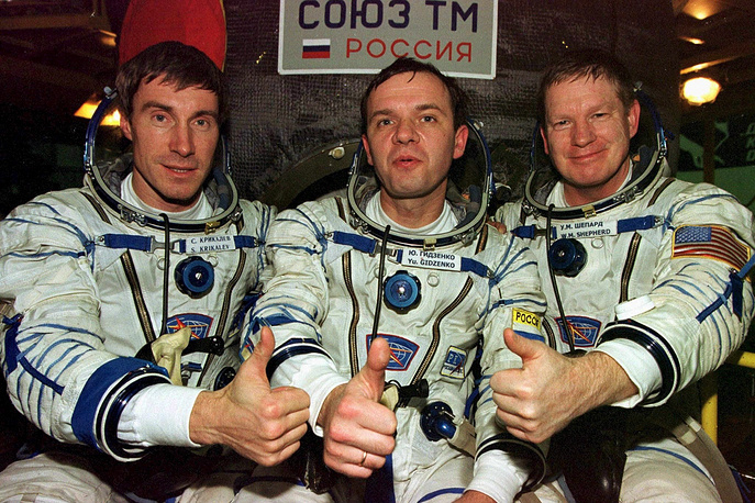The station has been continuously occupied for more than 14 years since the arrival of Expedition 1 on 2 November 2000. Photo: First crew of the International Space Station, US astronaut Bill Shepherd and Russian cosmonauts Yuri Gidzenko and Sergei Krikalyov in front of Soyuz TM rocket at Baikonur cosmodrome, 2000