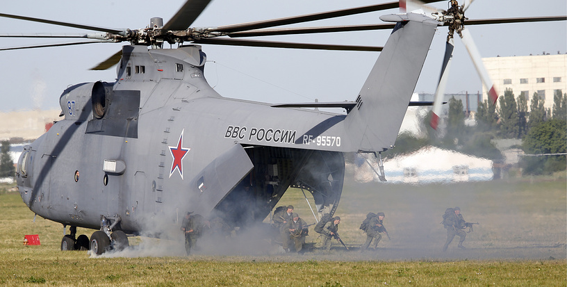 Mi-26 produced by Rostvertol company, can carry up to 20 metric tons or 82 fully-equipped paratroopers. Photo: Mi-26T heavy transport helicopter