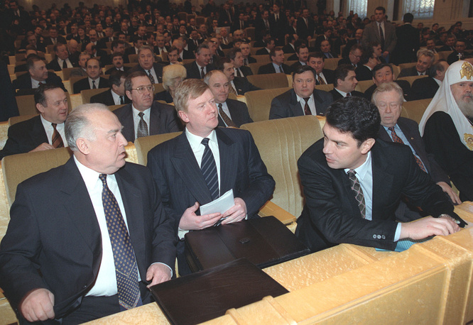 In February 1998, Yeltsin summed up the previous year, which he described as a year of political stability. He also called for measures against unemployment and pointed to a small growth of the GDP and industrial output. Photo: Russian Prime Minister Viktor Chernomyrdin and First Deputy Prime Ministers Anatoly Chubais and Boris Nemtsov listening to Yeltsin's address. February 17, 1998