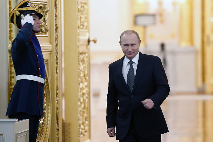On December 4 Russian President Vladimir Putin delivered his annual state of the nation address to the Federal Assembly, the both chambers of Russia's parliament.  Photo: Vladimir Putin enters St. George's Hall of Moscow's Kremlin