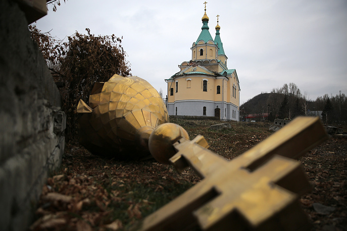 A church in Donetsk after a mortar attack