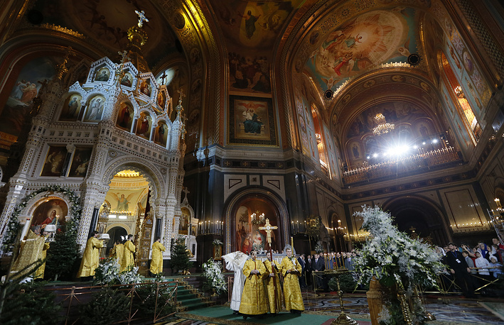 A Christmas service at Christ the Savior cathedral in Moscow, Russia