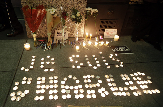 "The words ""I am Charlie"" are spelled out with candles outside the French Consulate in San Francisco, USA"