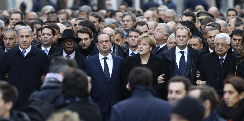 World leaders also joined march in Paris. Photo: Israeli Prime Minister Benjamin Netanyahu, Mali's President Ibrahim Boubacar Keita, French President Francois Hollande, German Chancellor Angela Merkel, European Council President Donald Tusk and Palestinian President Mahmoud Abbas