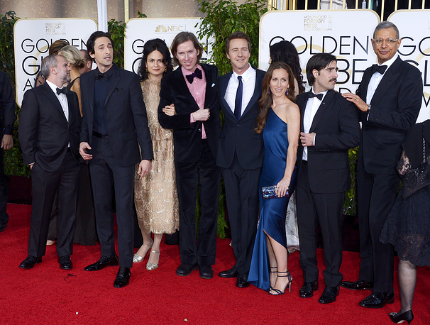 'The Grand Budapest Hotel' won Best picture - musical or comedy. Photo: Cast members of 'The Grand Budapest Hotel' including director Wes Anderson, Adrien Brody, Edward Norton, Jason Schwartzman and Jeff Goldblum arrive for the 72nd Annual Golden Globe Awards at the Beverly Hilton Hotel