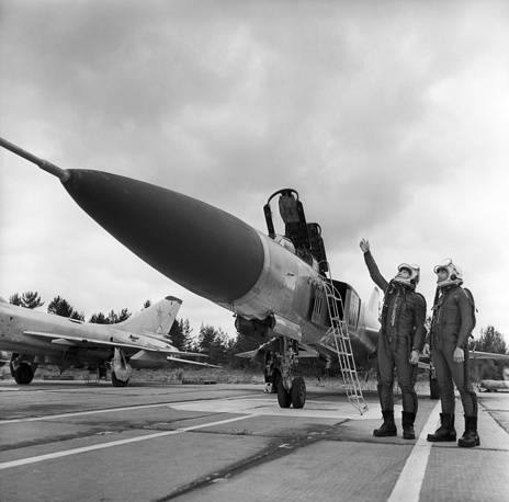 Pilots near Su-15 fighter, supersonic interceptor developed by the Soviet Union in the 1960s to replace Su-11 and Su-9
