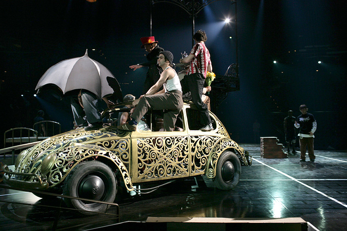 """Cast members of """"Love"""", show by Cirque du soleil dedicated to The Beatles during a rehearsal in Las Vegas"""