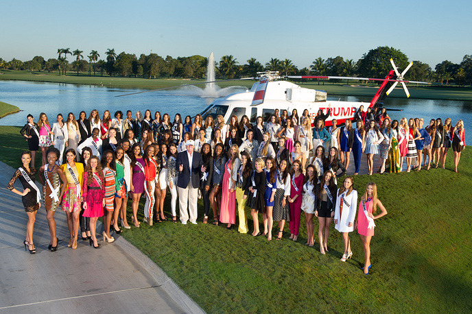 Сo-owner of the Miss Universe Organization, Donald J. Trump poses for a family photo with the 88 Miss Universe contestants at Trump National Doral Miami, USA