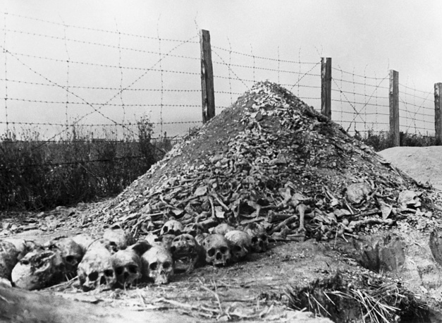 Bones and ashes of the people cremated by Nazis in Majdanek concentration camp