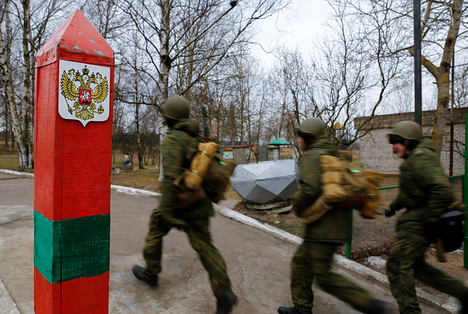 Military servicemen of Baltic fleet taking part in military exercise in Kaliningrad region
