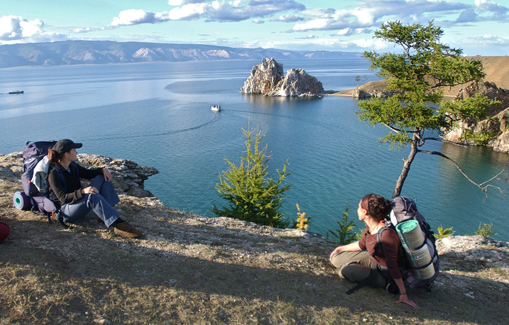 Baikal contains 20% of the world's total unfrozen freshwater reserve. Photo: Tourists having break on Baikal's Olkhon island.