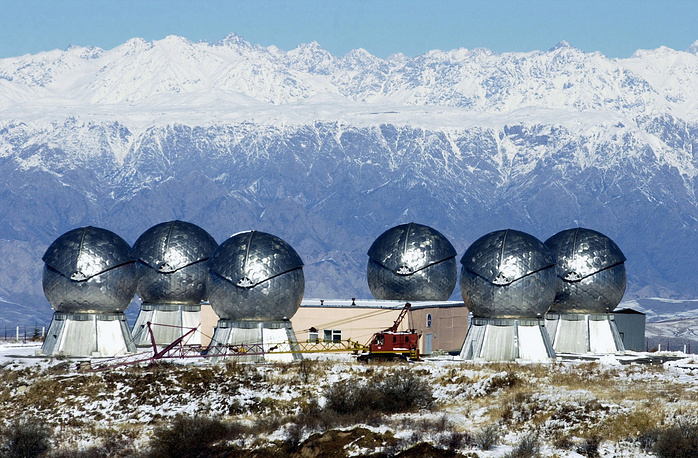Okno space surveillance station consists of a number of telescopes in domes. It is part of the Center for Outer Space Monitoring and is capable to detect space objects, such as satellites or space junk