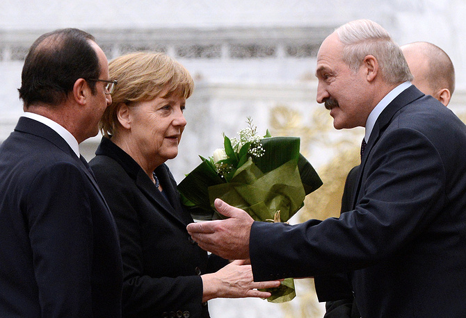 France's president Francois Hollande, Germany's chancellor Angela Merkel and Belarus' president Alexander Lukashenko