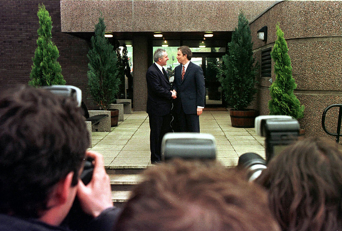 Belfast Agreement which became a major political development in the Northern Ireland peace process of the 1990s was established on April 10, 1998. The historic event was a result of continuous negotiations including 5 hour multiparty talks. Photo: Irish Prime Minister Bertie Ahern and British Prime Minister Tony Blair in Belfast, 1998
