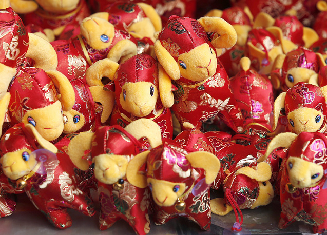 Goat dolls at a gift shop at a market in Bangkok's Chinatown, Thailand