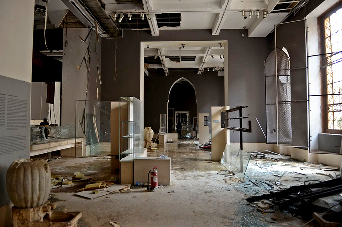 Damages inside the Museum of Islamic Artifacts after a car bombing in Cairo, Egypt