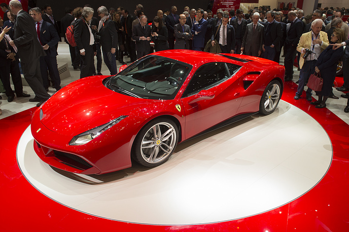 New Ferrari 488 GTB unveiled during the press day at the 85rd Geneva International Motor Show in Geneva, Switzerland. The 85th Geneva International Motor Show runs from 05 until 15 March 2015