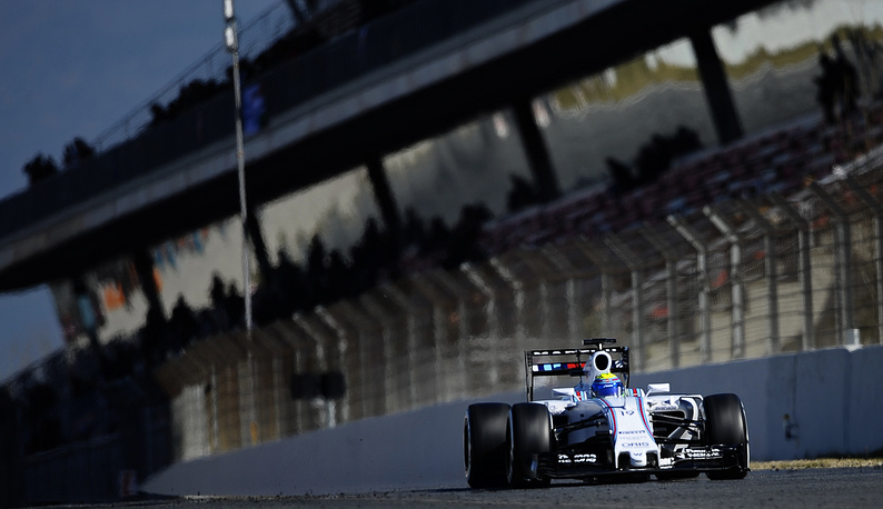 Felipe Massa of Brazil performs in Williams team with Valtteri Bottas. Photo: Massa's car during the 2015 Formula One testing at the Barcelona Catalunya racetrack in Montmelo, Spain