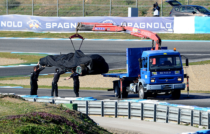 Mercedes team who won Formula One World Constructors' Championship last year experience only few problems in pre-season tests. Photo: A rare event when car of British Formula One driver Lewis Hamilton of Mercedes AMG is lifted onto a tow truck during a training session for the upcoming Formula One season