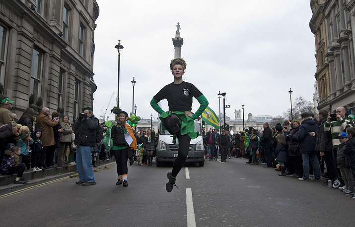 St Patrick's Day parade in London, Britain