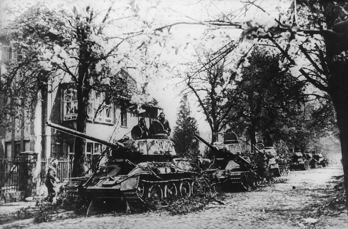 Soviet tanks in the outskirts of Berlin, 1945