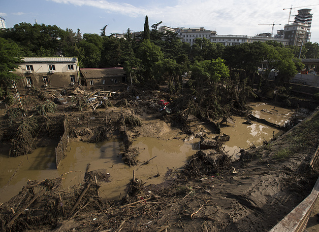 A destroyed flooded zoo area in Tbilisi, Georgia