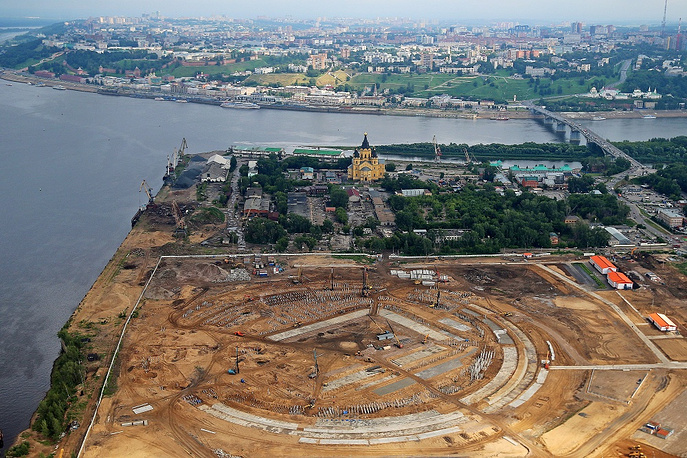 Commissioning of football stadium in Nizhny Novgorod with the capacity of 45 thousand people is scheduled for 2017