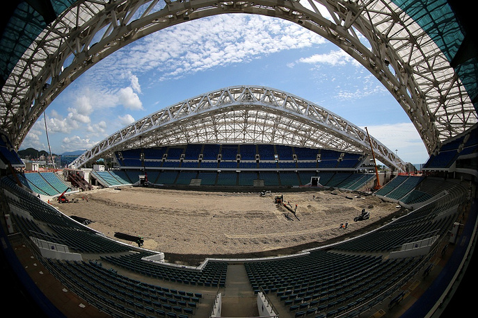 The Fisht stadium was built for the Winter Olympic Games in Sochi in 2014