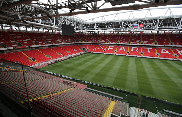 The first match of the international level was played at the Okritie-Arena on October 12, when Russia played against Moldova in a qualifier for the UEFA Euro Cup 2016 in France