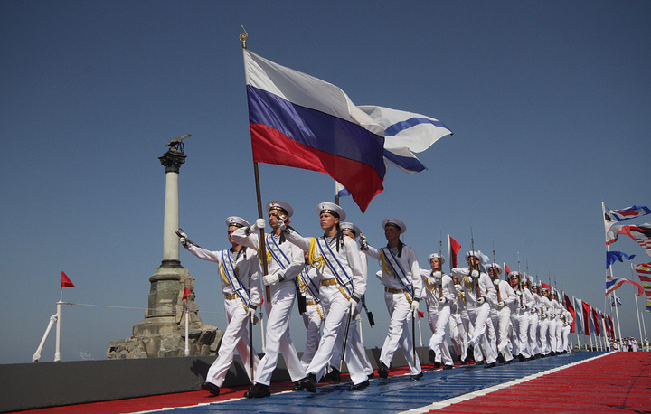 Navy officers at parade marking Russian Navy Day in Sevastopol