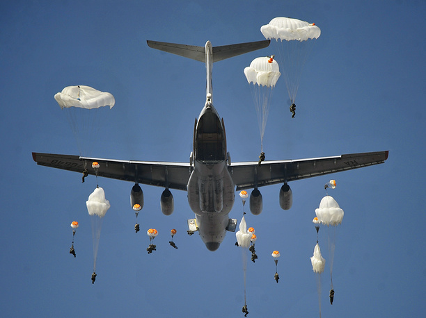 Parachute landing during a military drill in the Primorsky territory, 2015