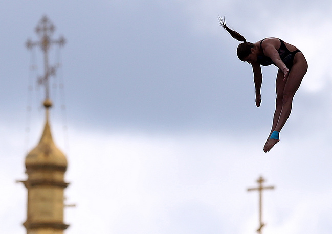 Yana Nestsiarava of Belarus at the Women's 20m High Diving