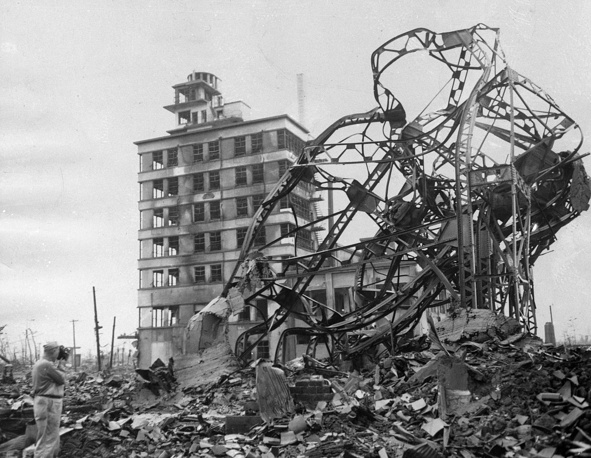 Destroyed building in the Japanese city of Hiroshima, Sept. 8, 1945