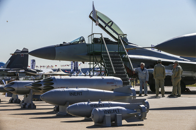 Russia's MiG-35 multirole fighter on display at the opening of MAKS 2015 International Air Show