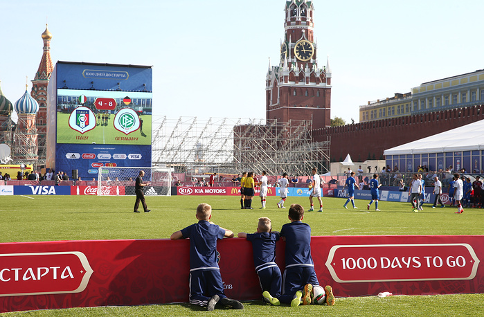 A view of Moscow's Red Square after a ceremony marking the 1000-day countdown to the 2018 FIFA World Cup in Russia
