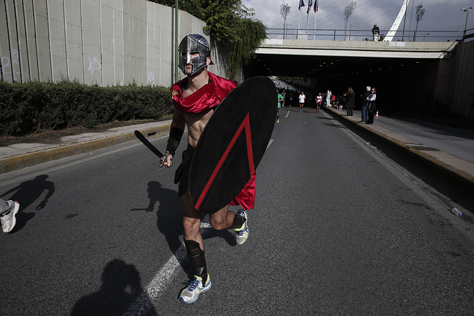 Runner competing in the Athens' Classic Marathon