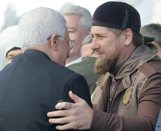 Palestinian leader Mahmoud Abbas and Chechen leader Ramzan Kadyrov