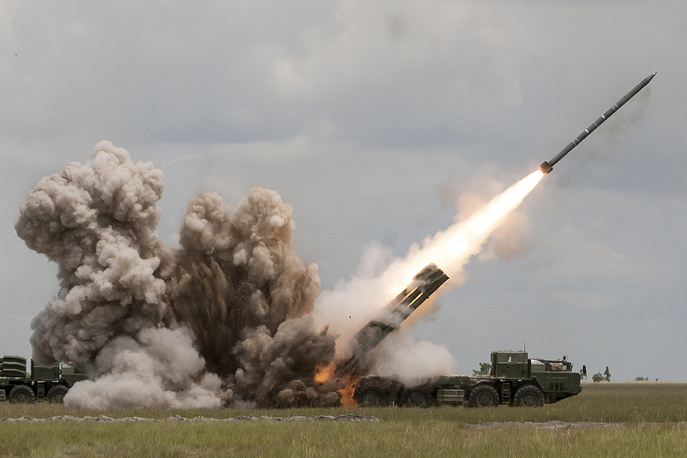 Smerch multiple rocket launcher is designed to defeat personnel, armored, and soft-skinned targets in concentration areas, artillery batteries, command posts and ammunition depots. It was created in the early 1980s and entered service in 1989