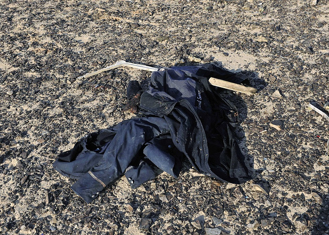 Item of clothing at the site where a passenger plane crashed in Hassana Egypt