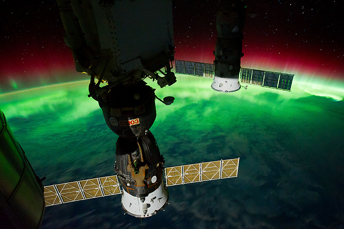 Aurora Australis, seen from a point over the southeast Tasman Sea near southern New Zealand, September 17, 2011