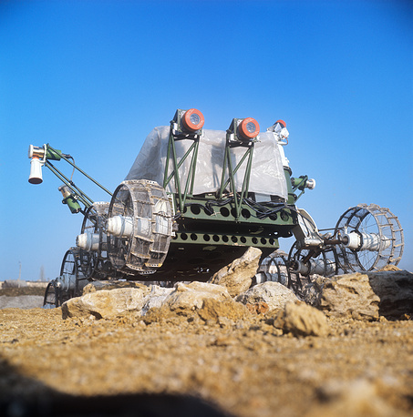 The Lunokhod 1 rover landed on the Moon in November 1970.  It was the first roving remote-controlled robot to land on any celestial body. During its operation, Lunokhod 1 transmitted to Earth more than 20,000 TV images and 206 high-resolution panoramas