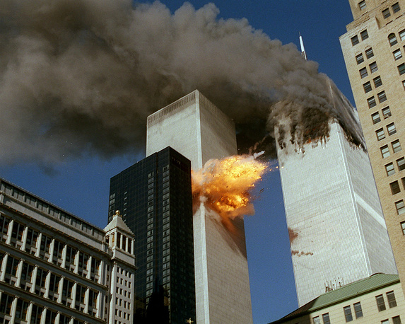 September 11 attacks. Series of coordinated terrorist attacks by the Islamic terrorist group al-Qaeda on the United States on September 11, 2001 killed 2996 people. Photo: Smoke pouring off one of the towers of the World Trade Center and flames exploding from the second one as after terrorists crashed planes into the buildings, September 11, 2001