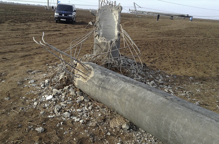 A pile of broken power lines near Chaplynka village of Kherson region, Ukraine