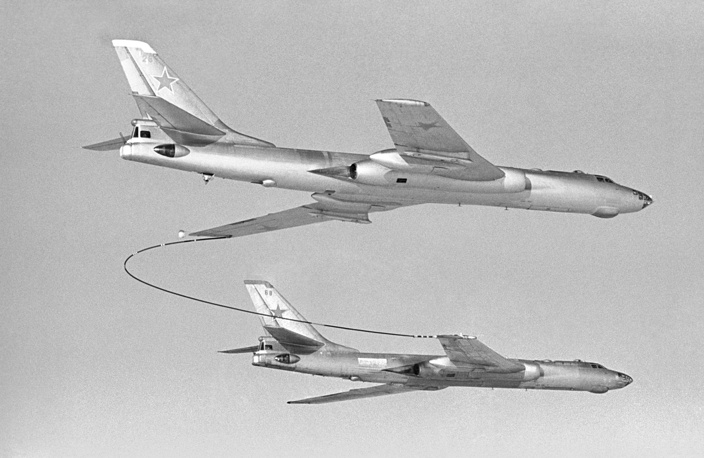 Tupolev Tu-16, a twin-engined jet strategic bomber was used by the Soviet Union for more than 50 years. Photo: Tu-16 bombers seen during the aerial refueling