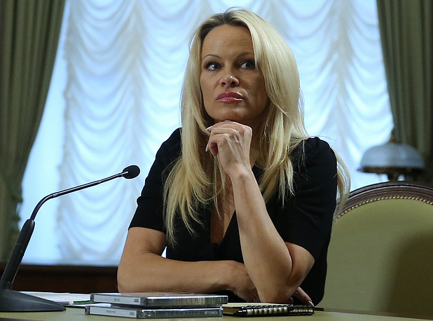 US actress and member of the International Fund for Animal Welfare (IFAW) Pamela Anderson
