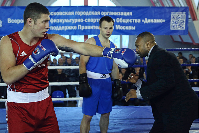 US-born boxer Roy Jones Jr seen during a masterclass for Moscow police officers at the Sports Complex of the Russian Interior Ministry