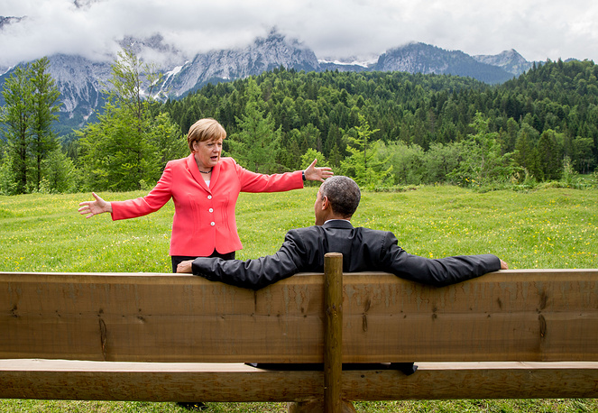 German chancellor Angela Merkel and US president Barack Obama at G-7 summit in Germany