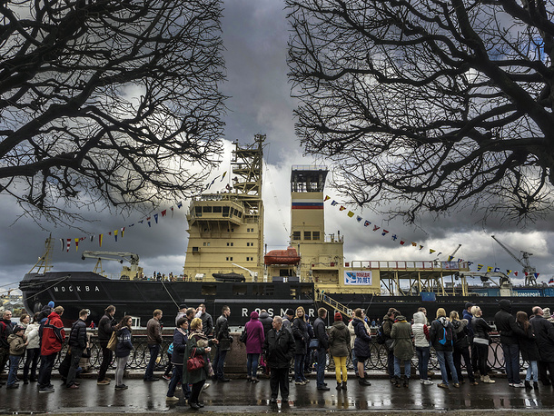 The Moskva icebreaker on the Neva River seen during an icebreakers festival marking the 70th anniversary of the Victory over Nazi Germany in World War II and the deeds of the WWII Arctic convoys which sailed from the United Kingdom, Iceland, and North America to northern ports in the Soviet Union, May 2, 2015